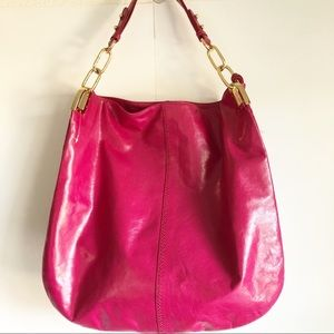 Badgley Mischka New Fuchsia Leather Tote Handbag